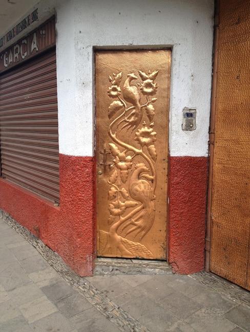 hammered copper door