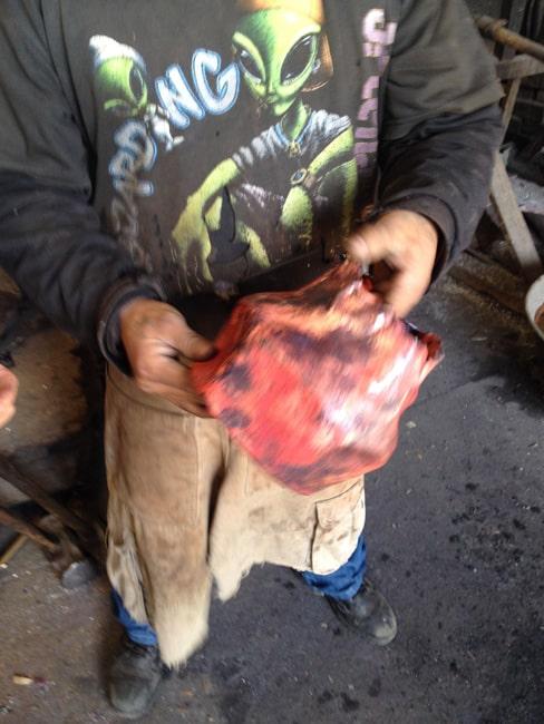 man holding work