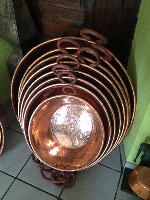 nested copper pots