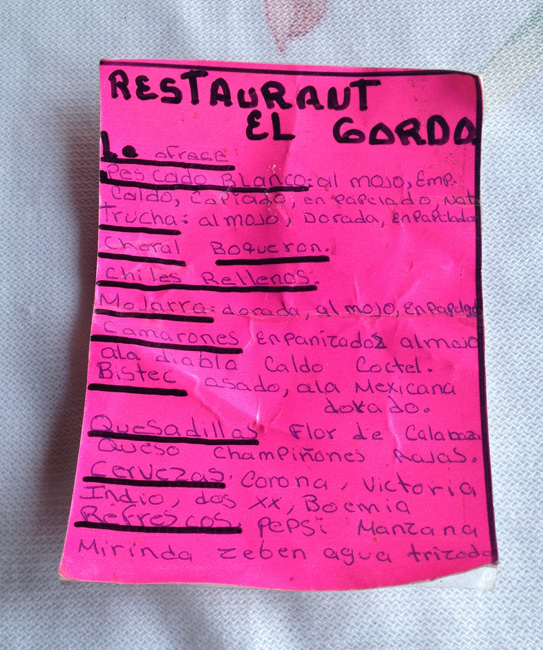pink menu