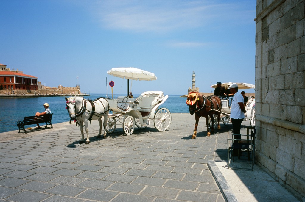 Chania Harbor Horse Carts