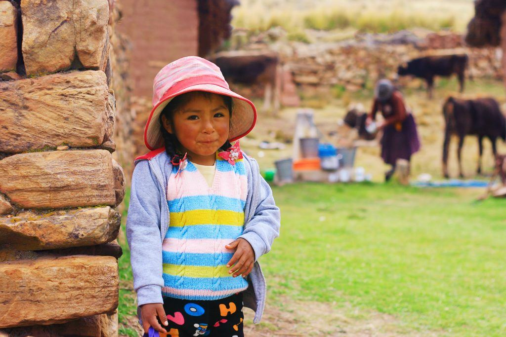 latin aymara little girl in the hat