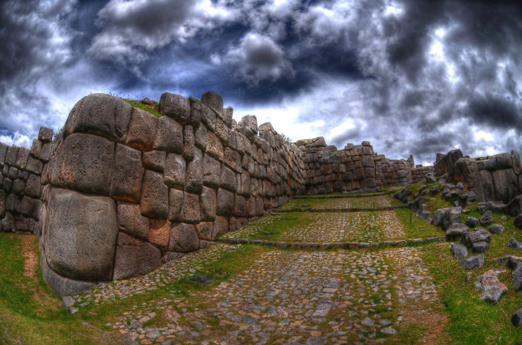 The walls of Saksaywaman Citadel near Cusco, Peru in HDR